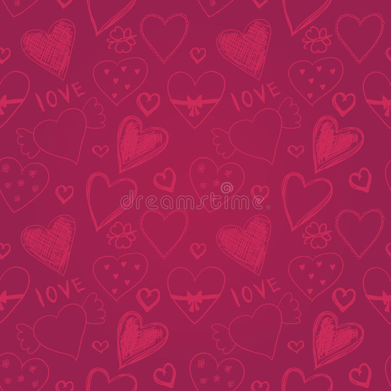 Leuk kleurrijk hand getrokken naadloos patroon met harten, Gelukkige Val vector illustratie