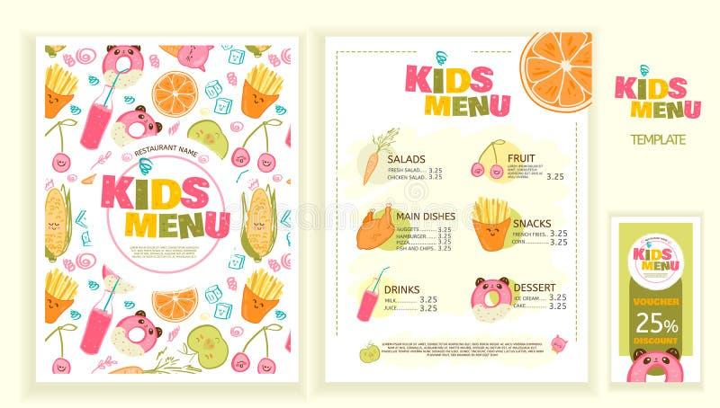 Leuk kleurrijk het menu vectormalplaatje van de jonge geitjesmaaltijd stock illustratie