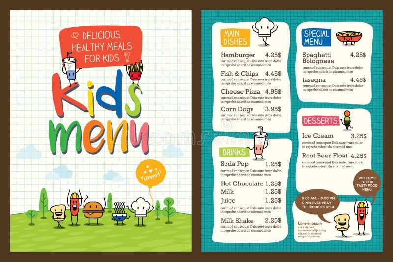 Leuk kleurrijk het menumalplaatje van de jonge geitjesmaaltijd royalty-vrije illustratie