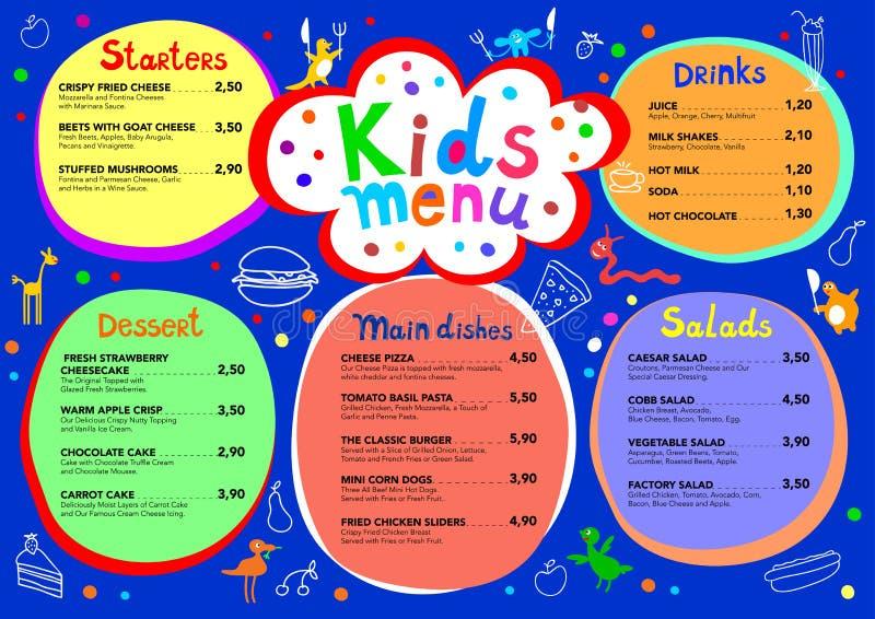 Leuk kleurrijk het menumalplaatje van maaltijdjonge geitjes met leuke kleine monsters vector illustratie