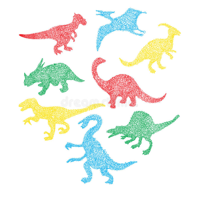 Leuk kleurrijk verschillend dinosaurussilhouet in beeldverhaalgekrabbel royalty-vrije illustratie