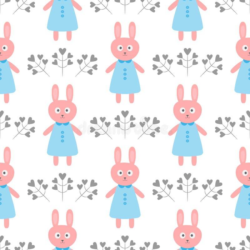 Leuk konijn in een kleding Bloemen in de vorm van harten Het naadloze patroon van het beeldverhaal royalty-vrije illustratie