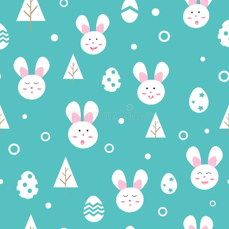 Leuk Konijn en ei, de seizoengebonden vakantie van de beeldverhaallente, Gelukkige Pasen-van het textuur naadloze patroon vectori vector illustratie