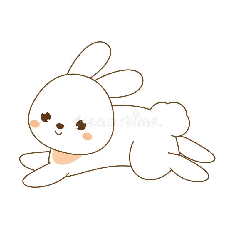 Leuk konijn Kawaiikonijntje Het witte hazen springen Beeldverhaal dierlijk karakter voor jonge geitjes, peuters en babysmanier stock illustratie