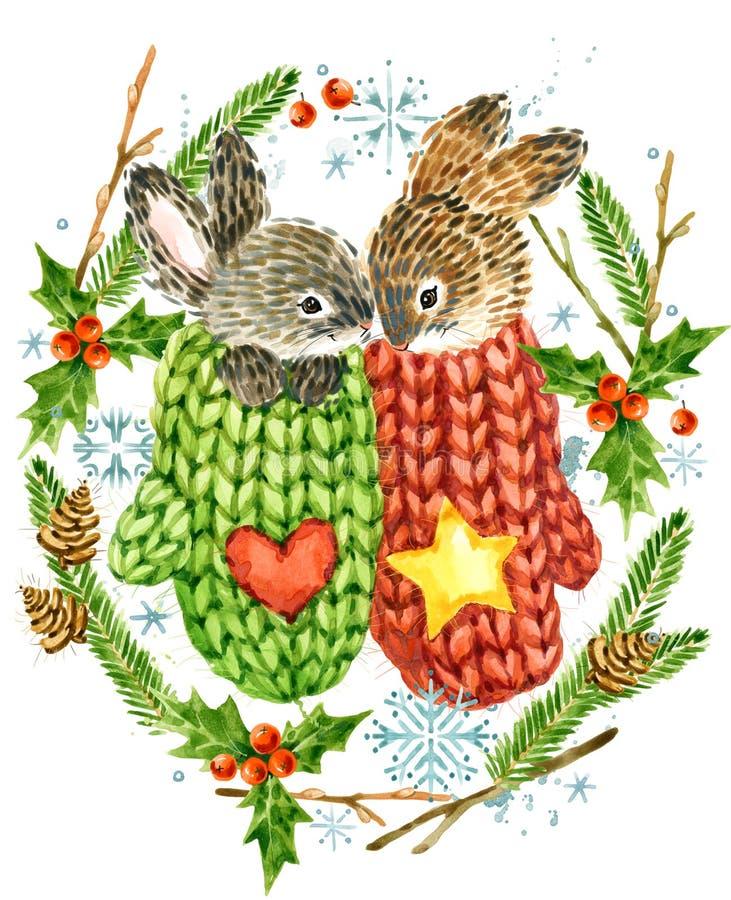 Leuk konijn Kerstman Klaus, hemel, vorst, zak bosdier De bosillustratie van de waterverfwinter Het kader van de Kerstmiskroon de  royalty-vrije illustratie