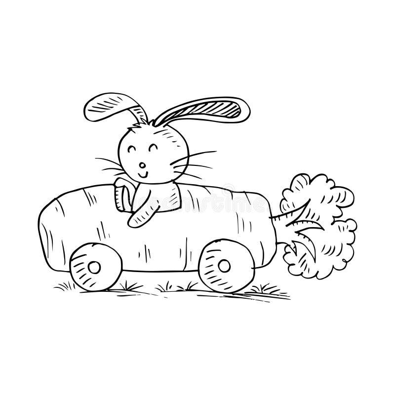 Leuk konijn met auto van wortelen stock illustratie