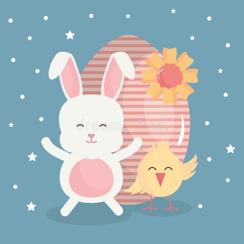 Leuk konijn met geschilderd paasei en kuiken vector illustratie
