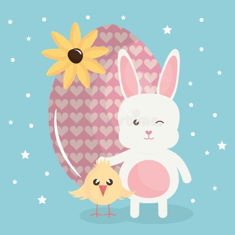 Leuk konijn met geschilderd paasei en kuiken stock illustratie