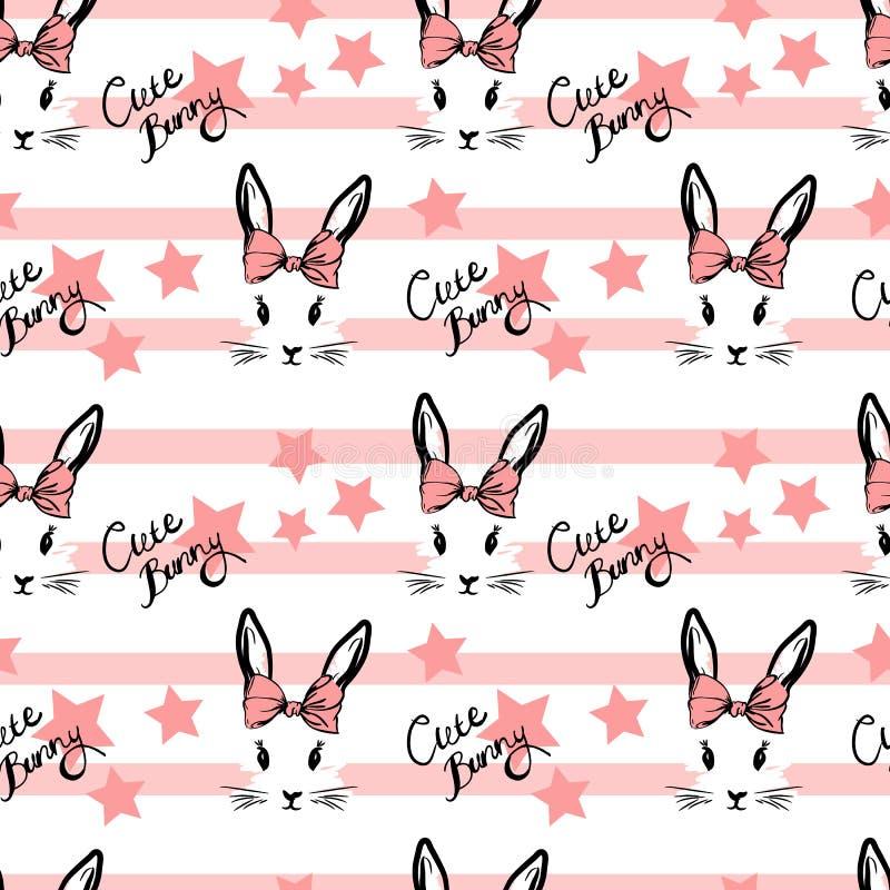 Leuk konijn met het patroon van het booggezicht vector illustratie