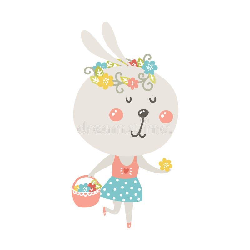 Leuk konijn met mand en bloemen vector illustratie