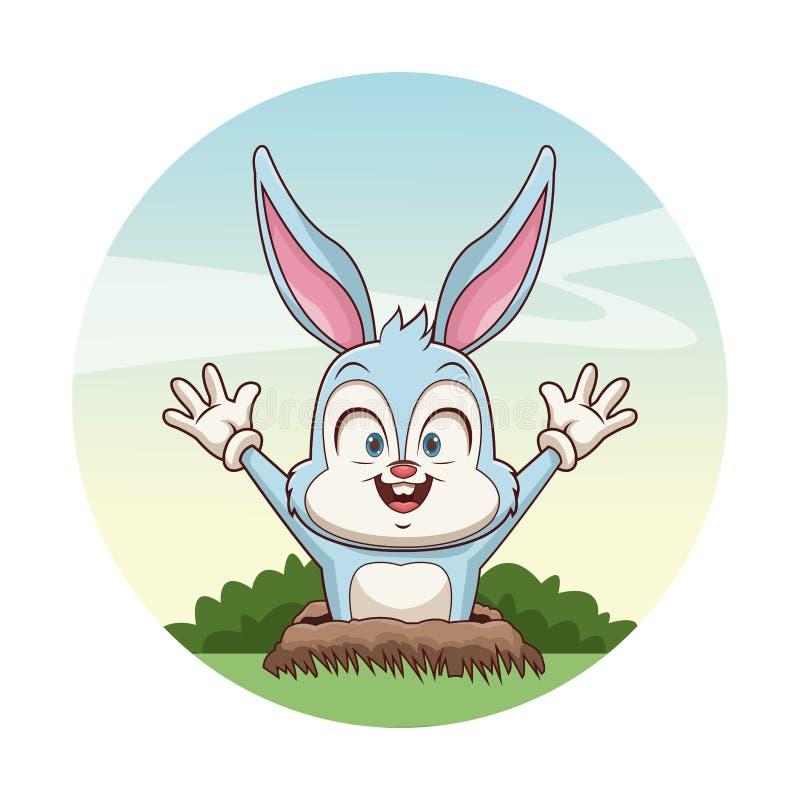 Leuk konijntje in de grond stock illustratie