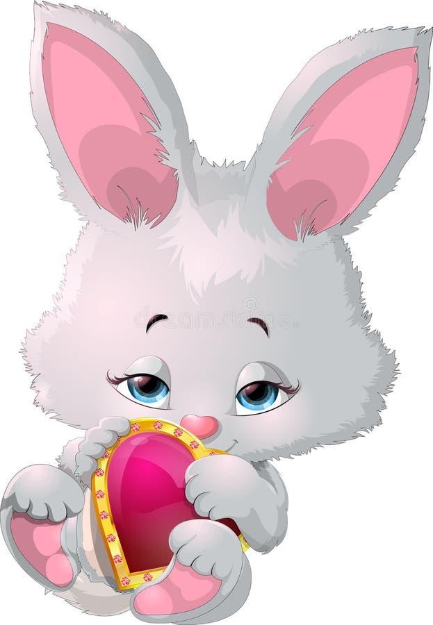 Leuk konijntje die een hart houden stock illustratie