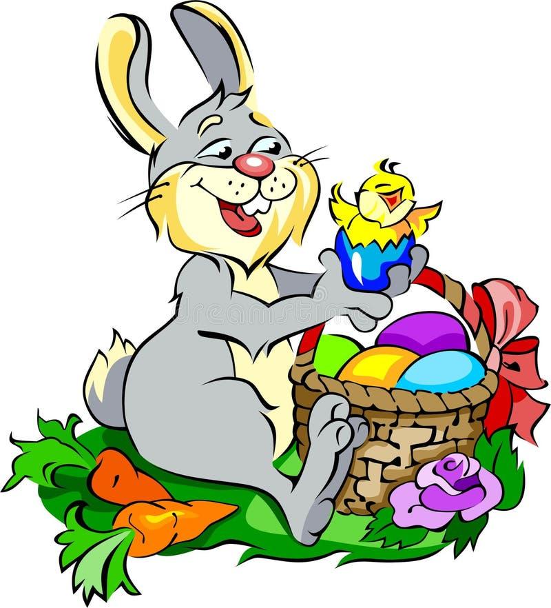 Leuk konijntje met Paaseieren en een kuiken vector illustratie