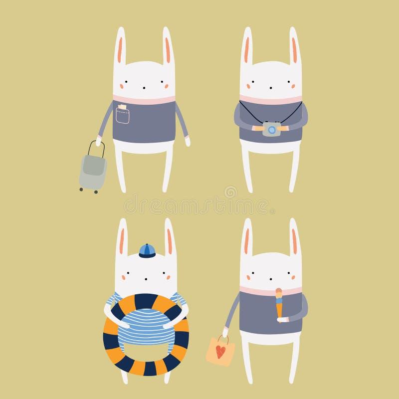 Leuk konijntje op de zomervakantie royalty-vrije illustratie