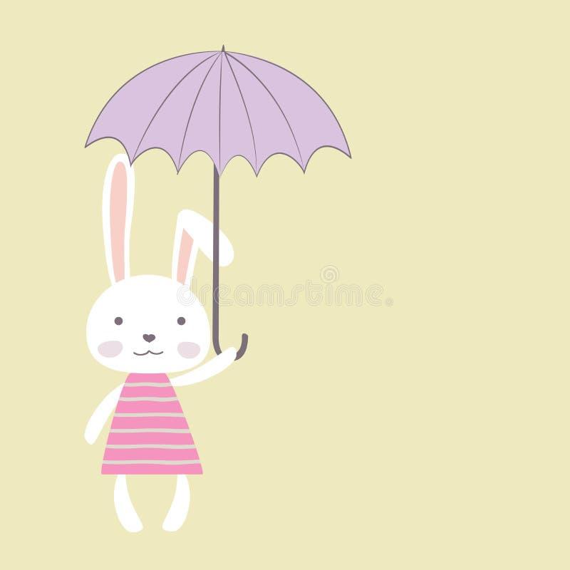 Leuk konijntjesmeisje met paraplu, plaats voor tekst royalty-vrije illustratie