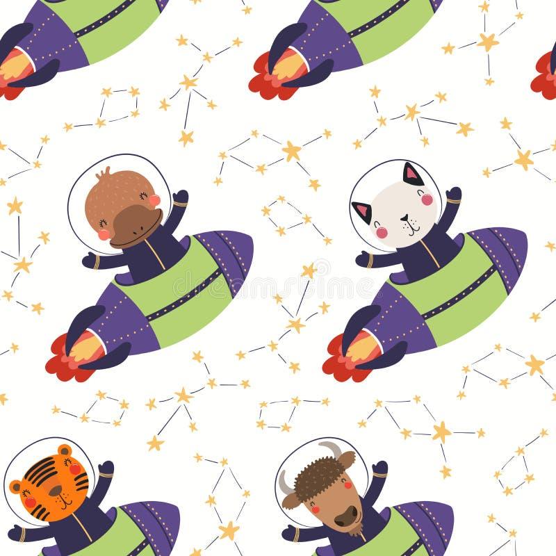 Leuk kosmisch naadloos patroon vector illustratie