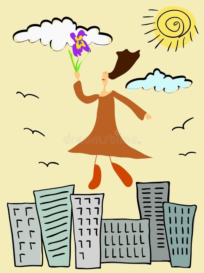 Leuk krabbelmeisje die boven de stad met een heldere bloem in haar hand vliegen stock afbeelding
