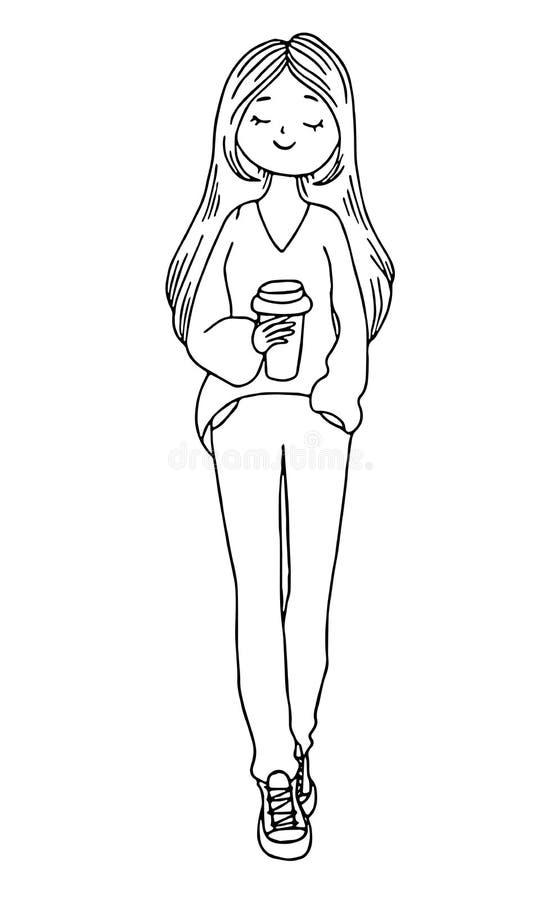Leuk krabbelmeisje met een kop van koffie Hand getrokken overzichtsvector geïsoleerde illustratie op een witte achtergrond royalty-vrije illustratie