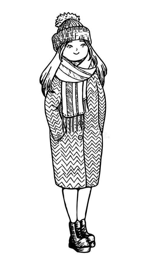 Leuk krabbelmeisje Schetsmatige stijl Hand getrokken vector geïsoleerde illustratie stock illustratie