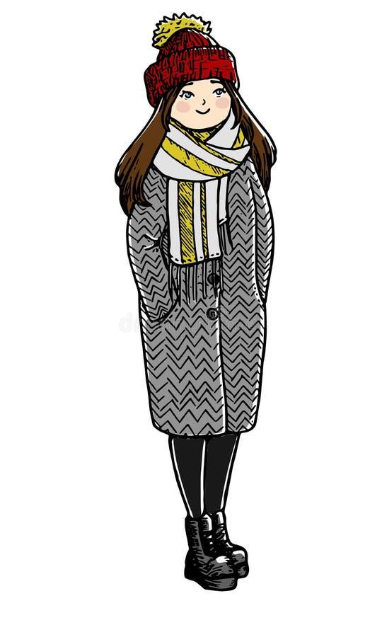 Leuk krabbelmeisje Schetsmatige stijl Hand getrokken vector geïsoleerde illustratie op een witte achtergrond stock illustratie