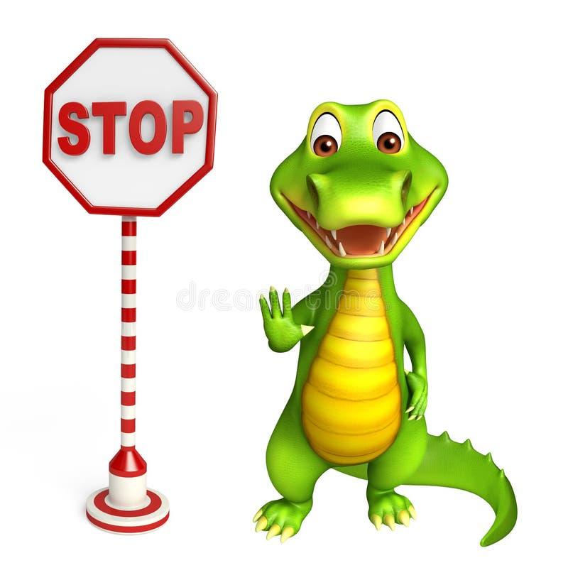 Leuk Krokodillebeeldverhaalkarakter met einderaad royalty-vrije illustratie