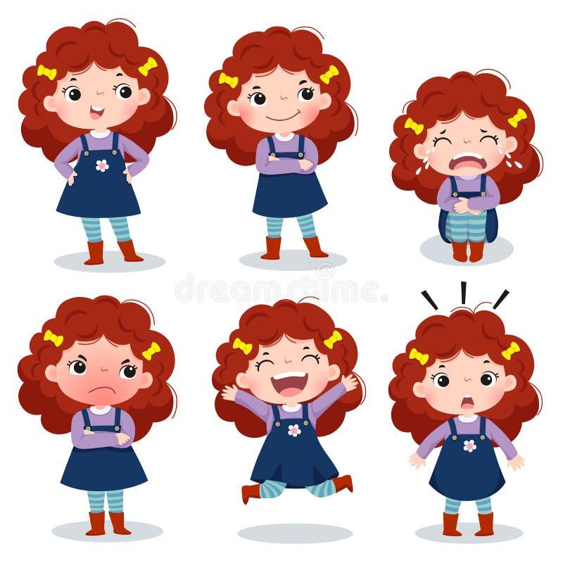 Leuk krullend rood haarmeisje die verschillende emoties tonen vector illustratie