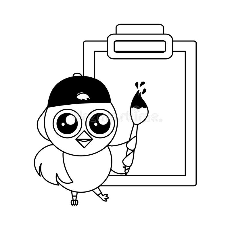 Leuk kuiken met borstel en klembord vector illustratie