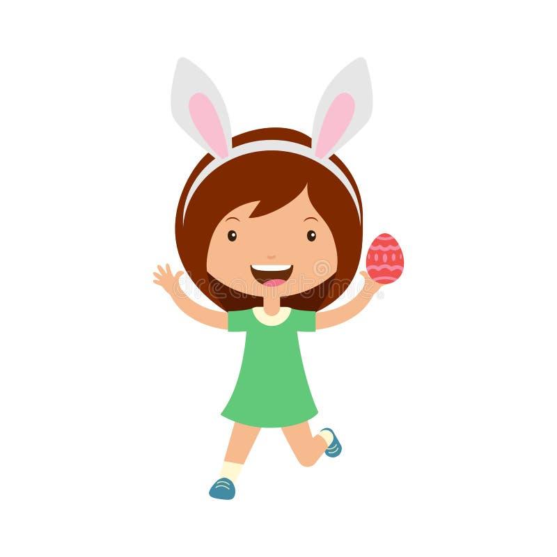 Leuk lachend lopend meisje die in groene kleding met konijntjesoren ei in hand houden vector illustratie
