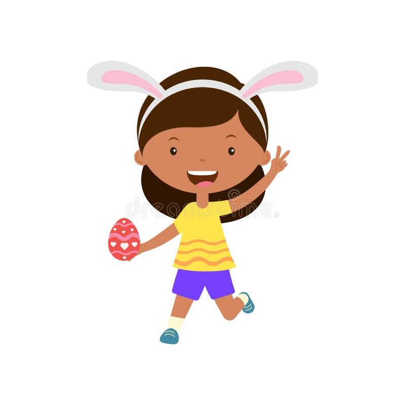 Leuk lachend lopend meisje die met konijntjesoren ei in hand houden vector illustratie