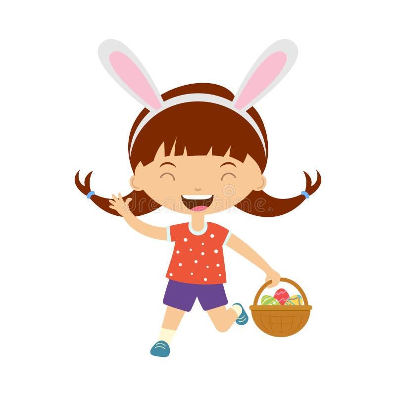 Leuk lachend lopend meisje die met konijntjesoren mand met eieren houden stock illustratie
