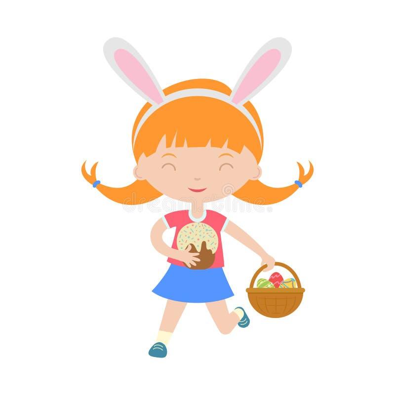 Leuk lachend lopend meisje die met konijntjesoren mand met eieren houden vector illustratie