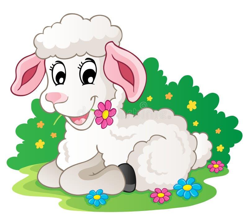 Leuk lam met bloemen stock illustratie