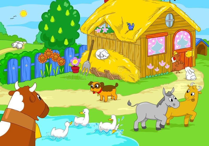 Leuk landbouwbedrijf met dieren De illustratie van het beeldverhaal vector illustratie