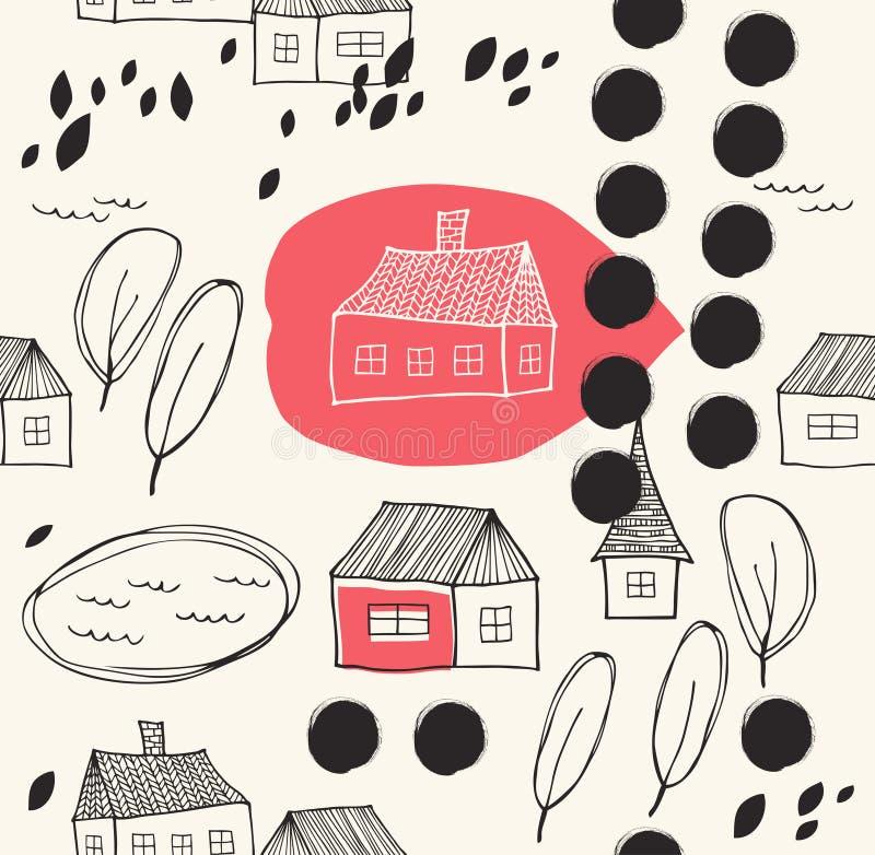 Leuk landelijk landschap met huizen en bomengrunge getrokken achtergrond vector illustratie