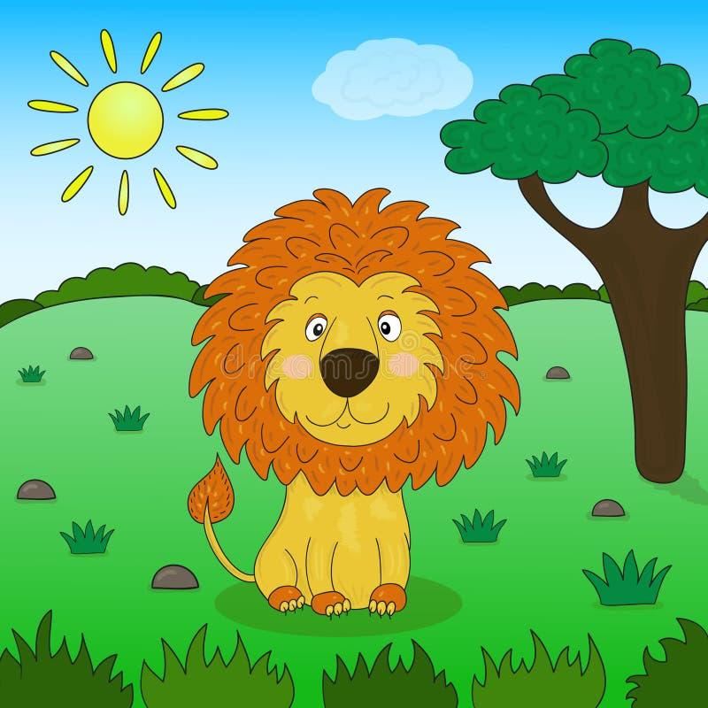 Leuk leeuwbeeldverhaal in de wildernis, illustratie royalty-vrije illustratie