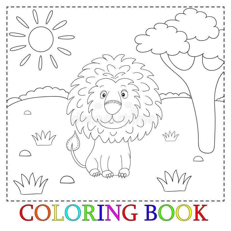 Leuk leeuwbeeldverhaal met hartillustratie Kleur en contour, kleurend boek stock illustratie