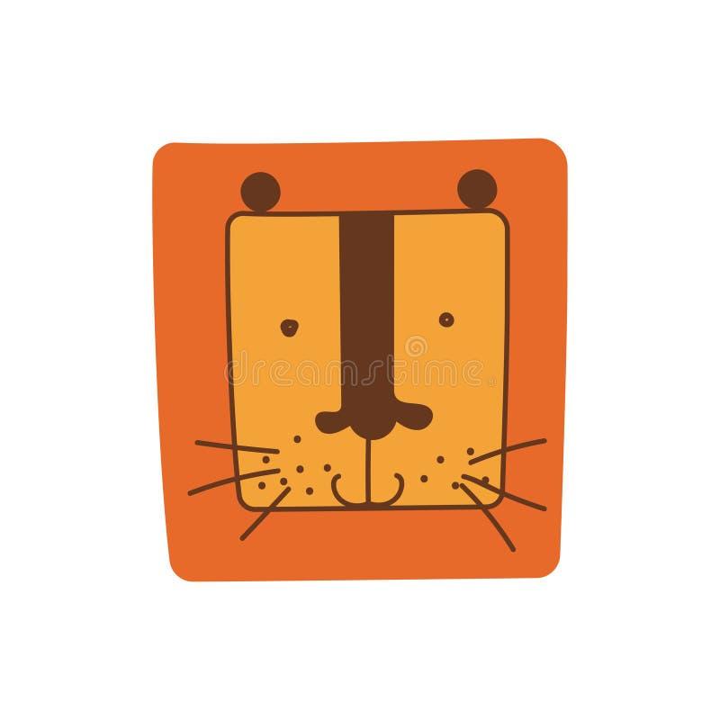 Leuk Lion Head van Vierkante Vorm, Hand Getrokken Ontwerpelement kan voor T-shirtdruk, Affiche, Kaart, Etiket, Kenteken worden ge stock illustratie