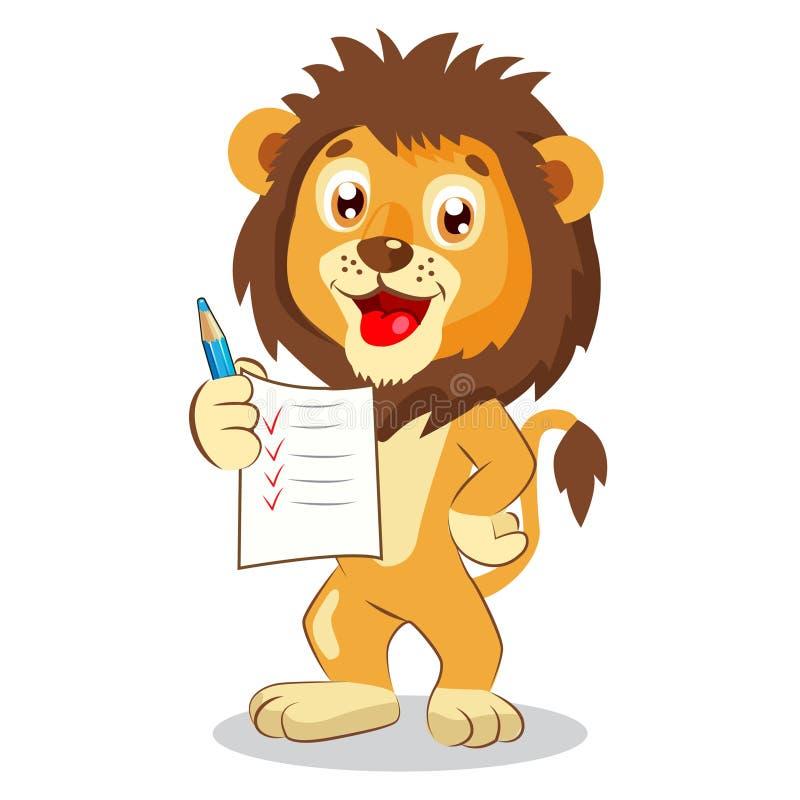 Leuk Lion Holding Up His Grades Beeldverhaalvector royalty-vrije illustratie