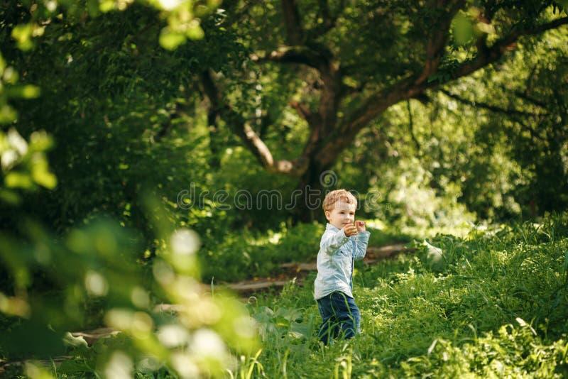 Leuk Little Boy die Pret in de Zomer hebben royalty-vrije stock afbeeldingen