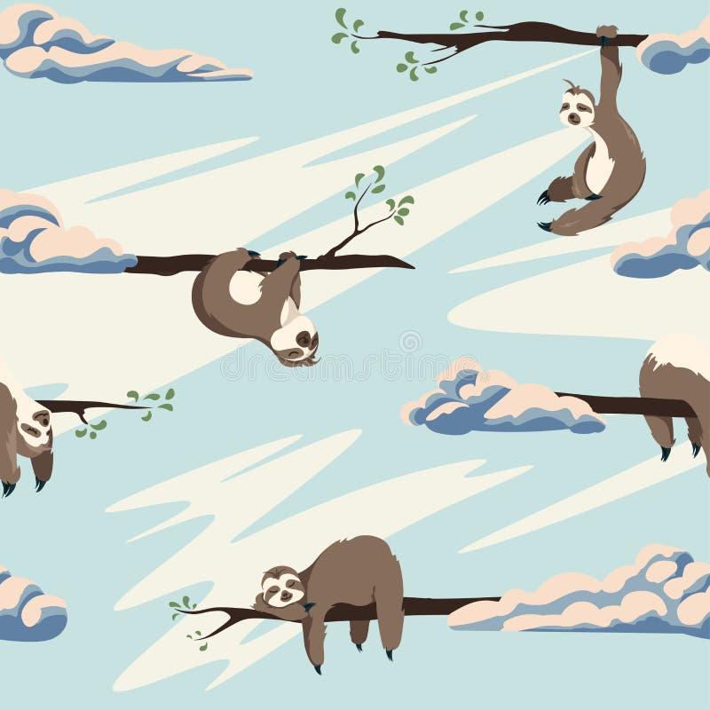 Leuk luiaarden vector naadloos patroon Textuur met beeldverhaaldieren en wolken op een blauwe hemelachtergrond stock illustratie
