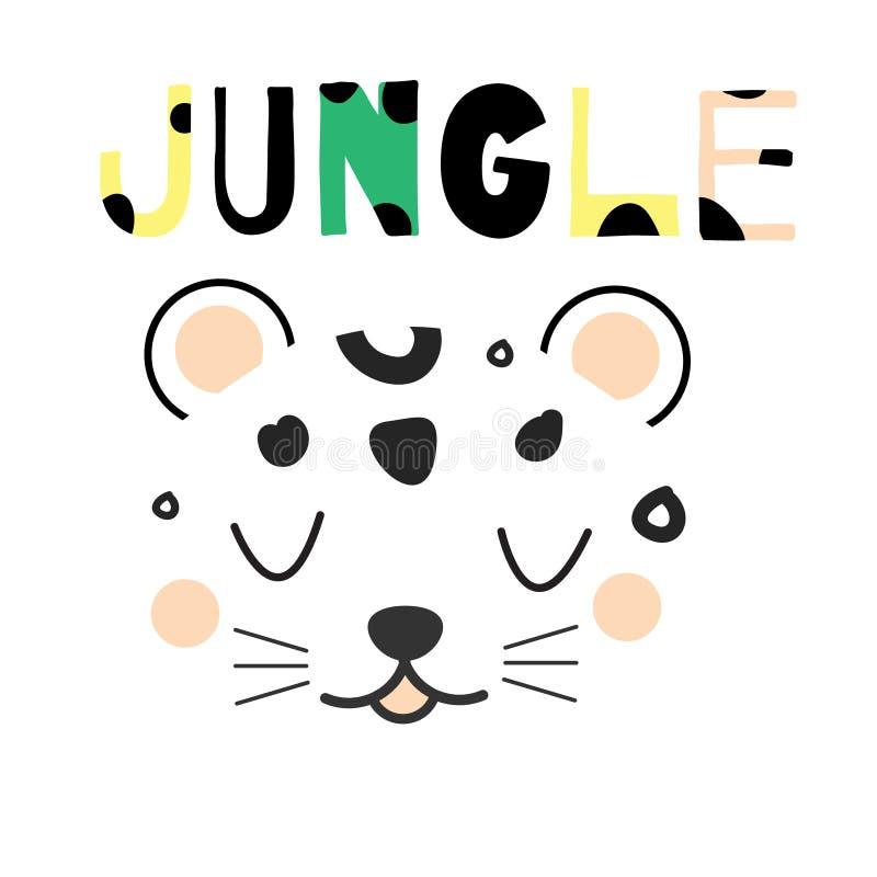Leuk luipaardgezicht Hand getrokken wildernis dierlijk gezicht in Skandinavische stijl Voor de drukken en het ontwerp van de jong royalty-vrije illustratie