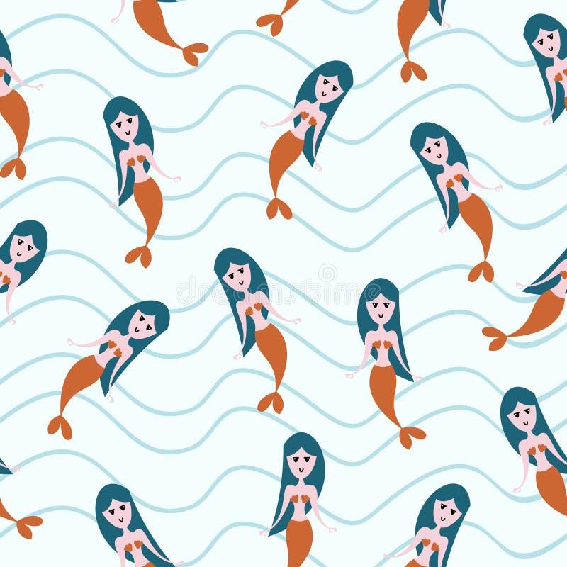 Leuk meermin naadloos patroon met de kinderachtige kleurrijke achtergrond van de tekeningsstijl voor de jonge geitjes van de de z stock illustratie