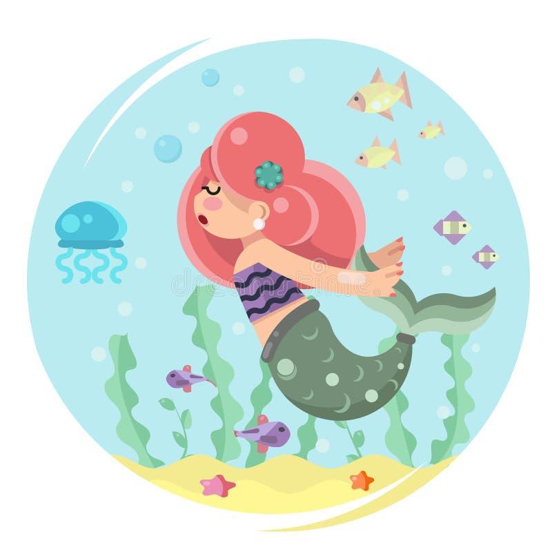 Leuk meerminmeisje die in van de overzeese het oceaan van het het karakterpictogram waterbodem vlakke ontwerp zwemmen vector illustratie