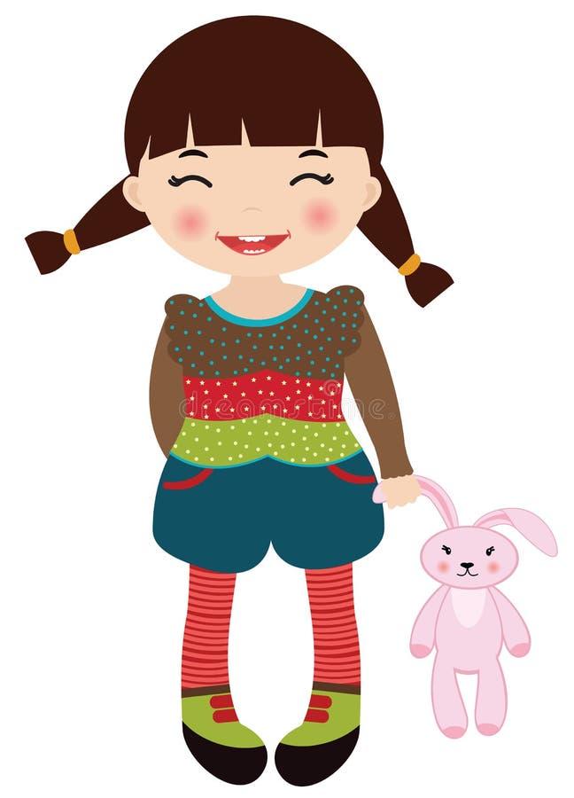 Leuk meisje dat haar roze konijnstuk speelgoed houdt stock illustratie