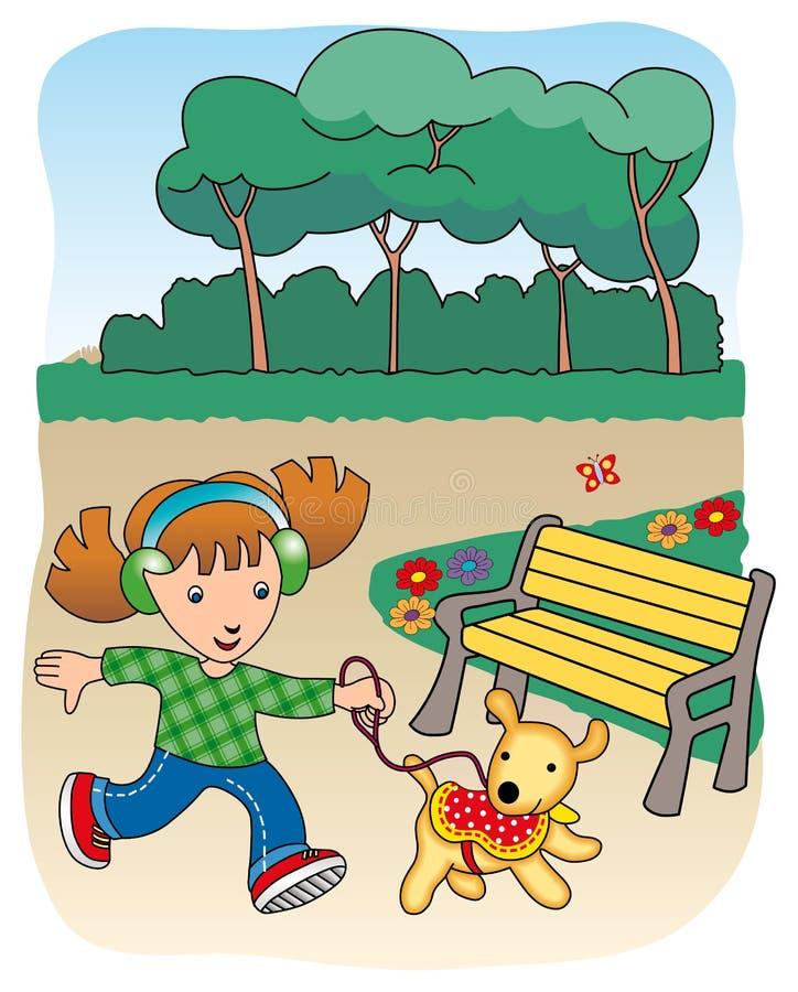 Leuk meisje dat zijn huisdier loopt stock illustratie