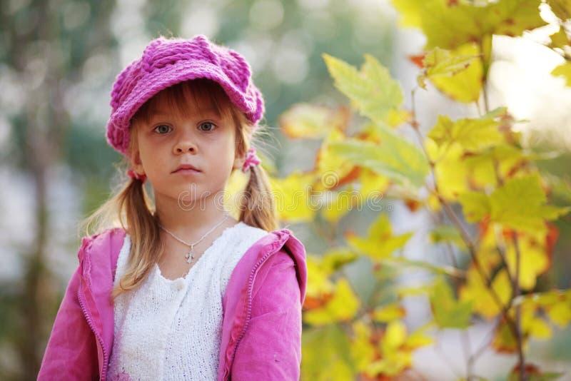 Leuk meisje in de herfstpark stock foto