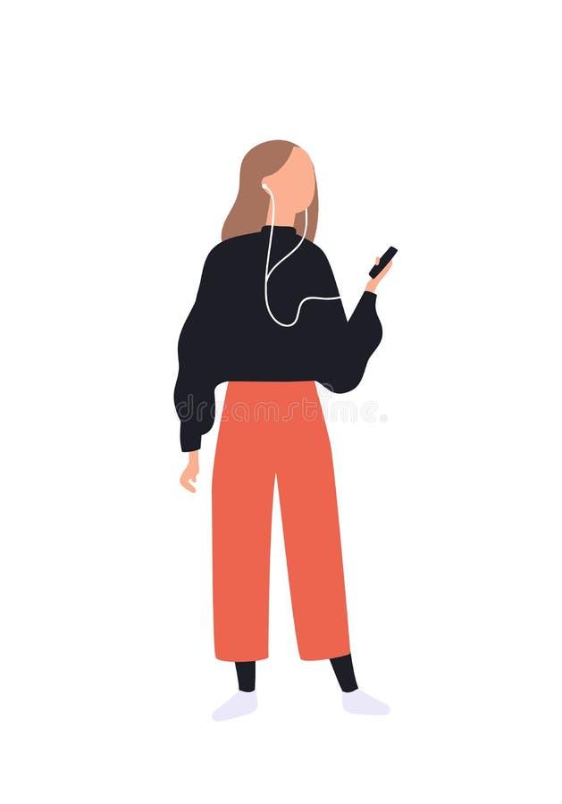 Leuk meisje die aan muziek via smartphone luisteren Grappige jonge vrouw met audiospeler en oortelefoons Recreatieve activiteit stock illustratie