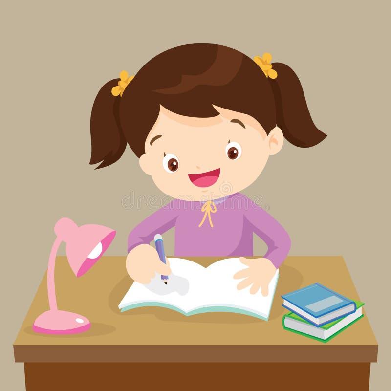 Leuk meisje die aan thuiswerk werken vector illustratie