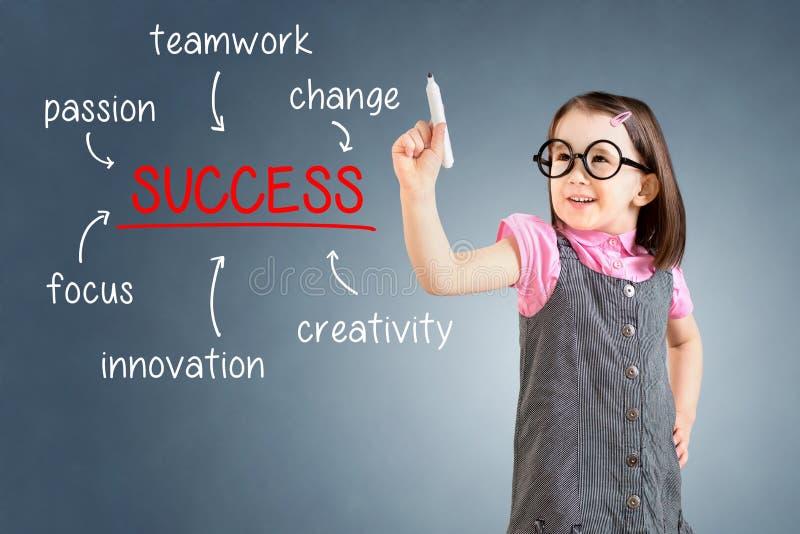 Leuk meisje die bedrijfskleding dragen en succesdiagram op glasraad schrijven met teller Achtergrond voor een uitnodigingskaart o royalty-vrije stock afbeeldingen
