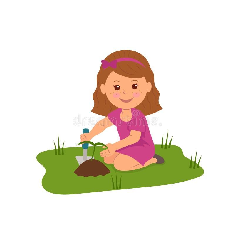Leuk meisje die bloemen planten Illustratie van Ecologie en Milieubescherming vector illustratie